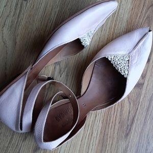 CYDWOQ VINTAGE ❤ 41/10 dusty pink peep toe flats